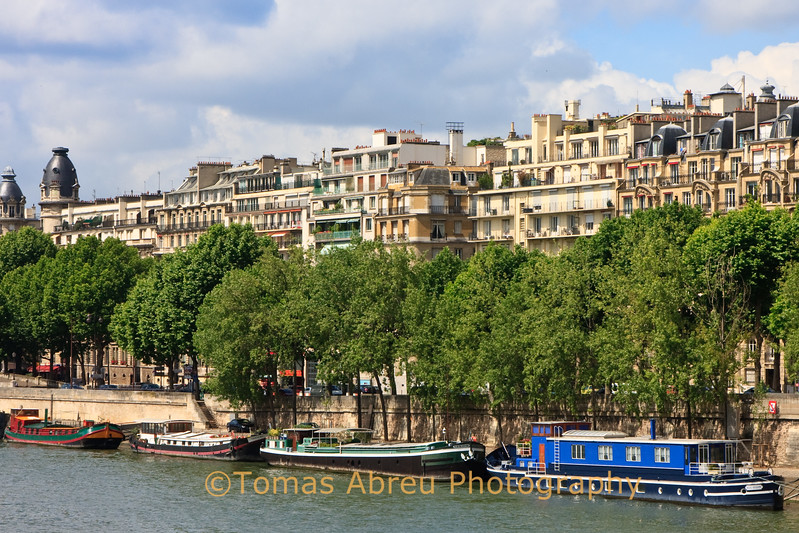 Barges along the Seine, Paris