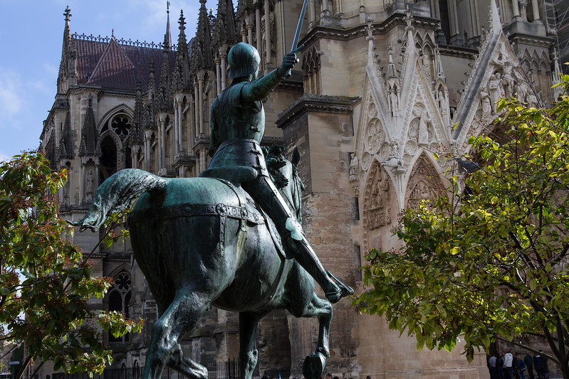 Joan of Arc keeping watch over Notre-Dame de Reims