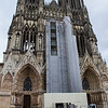 The scaffolded façade of Notre Dame de Reims