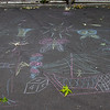 A bit of chalk art on the pavement in front of a school - about two blocks from the Bataclan