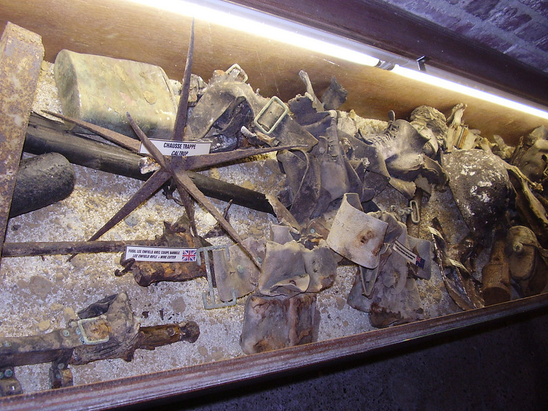 The debris of war. In the Somme '14-'18 Museum in Albert, cases display objects found on the battlefield.