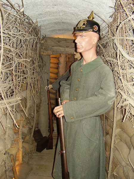 A lifesize display of a German soldier in a dugout in the Somme museum.