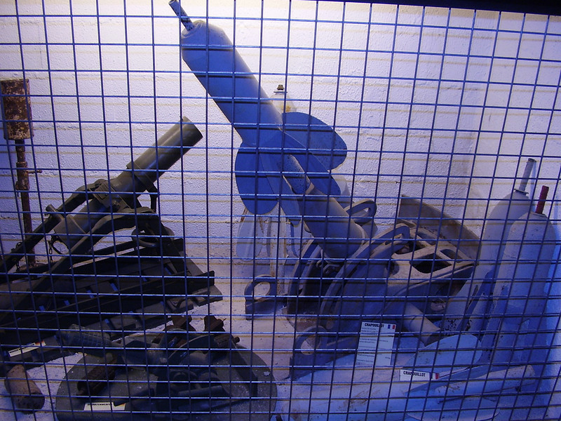 Weapons designed to lob shells into the trenches in the Somme museum.