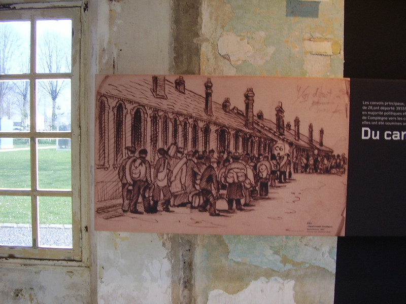 Illustration of prisoners outside the barracks at Royallieu.