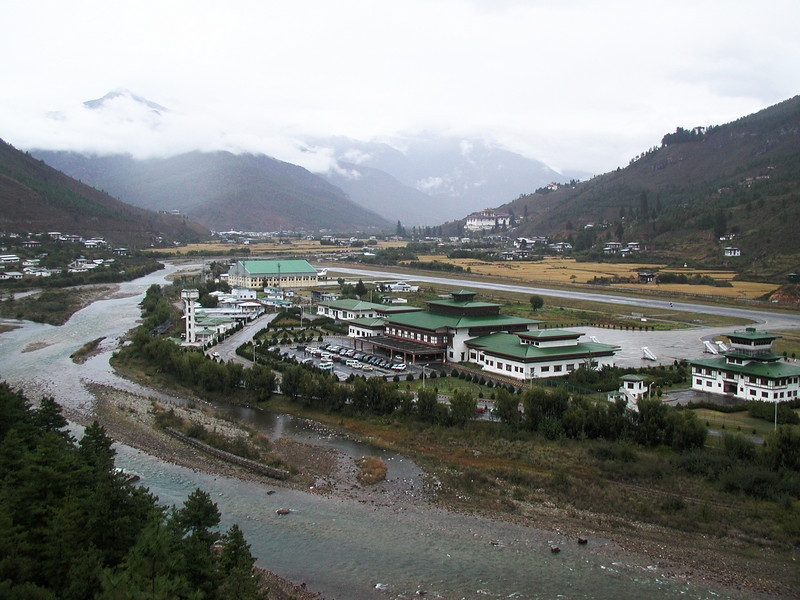 Paro Airport; The Paro approach is a white-knuckle ride that requires the Airbus A319 to do a series of 4 or 5 linked S-turns through the mountain valleys, well below mountain peaks.