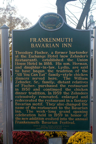 "The Bavarian Inn Restaurant in Frankenmuth, MI.<br />  <a href=""http://www.bavarianinn.com/?page=56366"">http://www.bavarianinn.com/?page=56366</a><br /> Historical information"