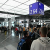 Passengers boarding for a flight at Frankfurt Airport, Germany.