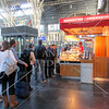 Food line at Main Train Station in Frankfurt, Germany.