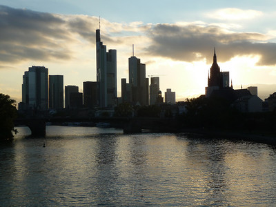 The Frankfurt skyline at sunset