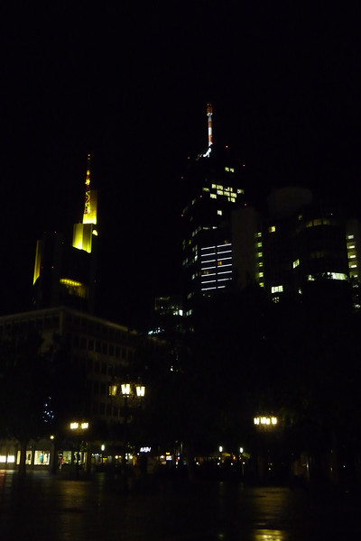 view of Frankfurt business district from the Alte Oper plaza