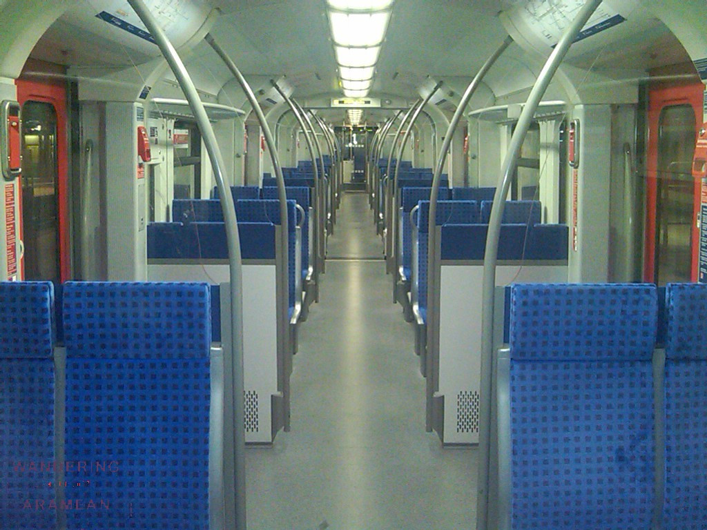On the S-Bahn back out to the airport. Quiet night on the reails.