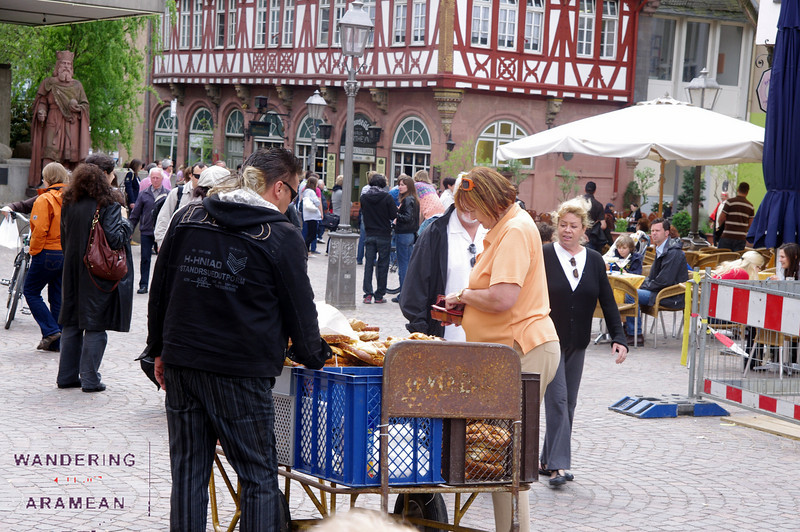 Plenty of snacks for sale in the square.