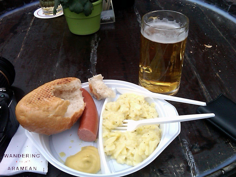 Lunch of Rindwurst and beer. Potato, too, for good measure.