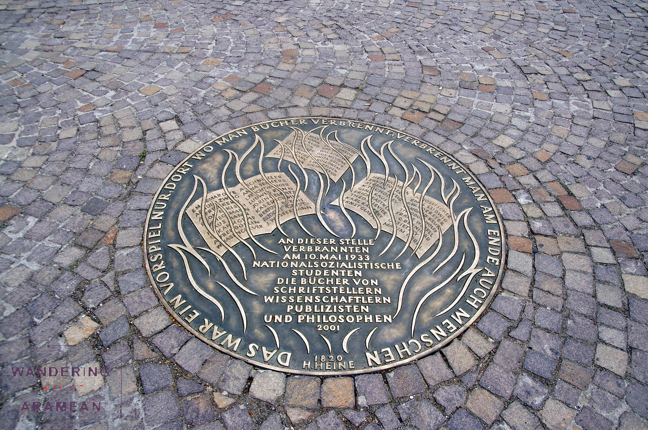 Memorial to a 1933 book burning.