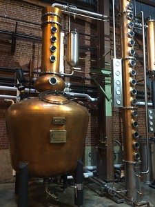 A. Smith Bowman has two stills -- this hybrid pot/tower still which they use to make a variety of distilled beverages, and a much higher-capacity traditional still used exclusively for bourbon whiskey.