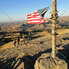 The US flag at the summit of the Mission Peak Hiking trail in Fremont, California.