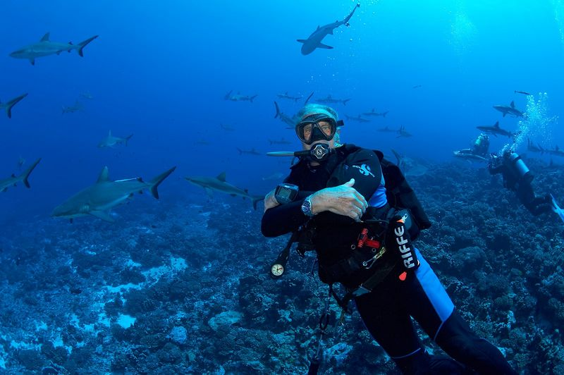 Roger Lewis with grey reef sharks (Carcharhinus amblyrhynchos) (Fakarava - South Pass)