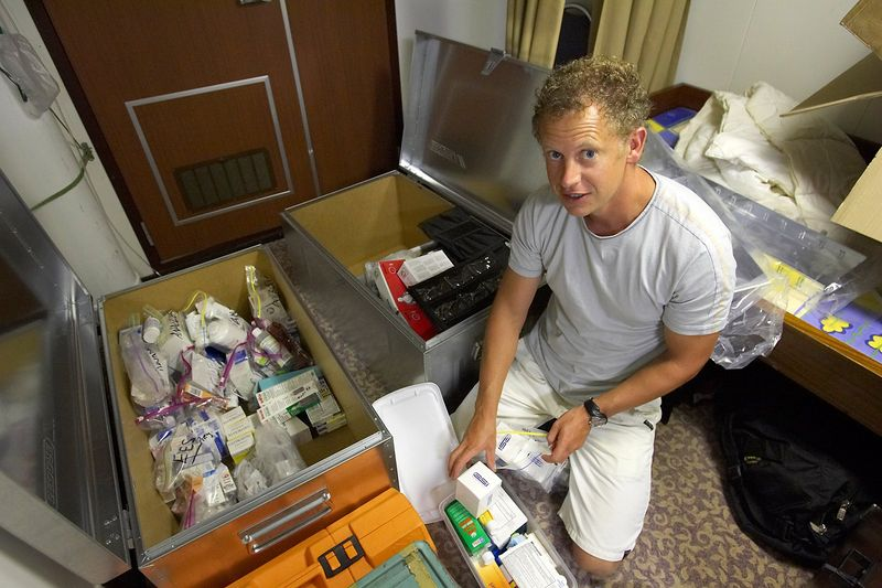 Brett Gerrard packs up all of the medical supplies (Boat - Akademik Shokalskiy)