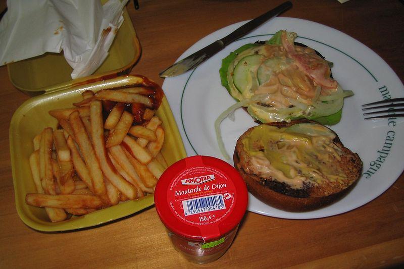 Amora mustard on a burger!  (Moorea - Topside)