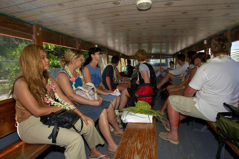 The bus ride to the Maitai Dream resort on Fakarava