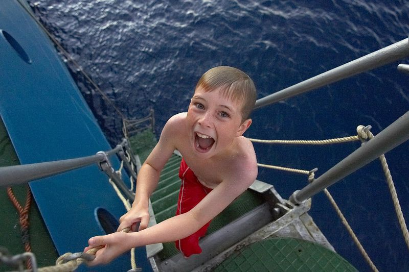 Timothy McDowell jumps off of the gangway (Boat - Akademik Shokalskiy)