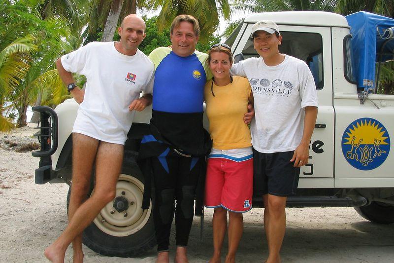 Stephane Revest, Lucien Schmidlin, Natalie, and me (TOPdive Rangiroa)