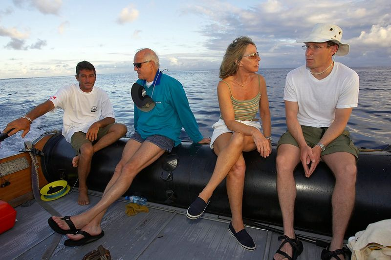 Pierre, Chuck, Marti, and Hal out for an early morning fishing trip (Boat - Akademik Shokalskiy)