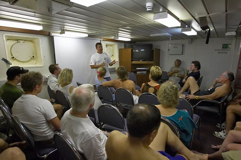 Rob gives us a briefing about the dive deck.