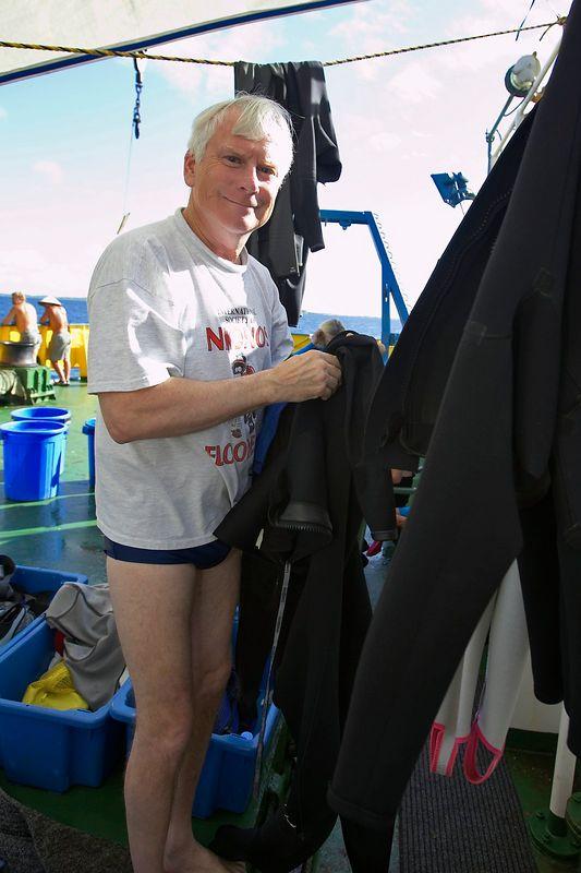 Ken Howard suits up (Boat - Akademik Shokalskiy)