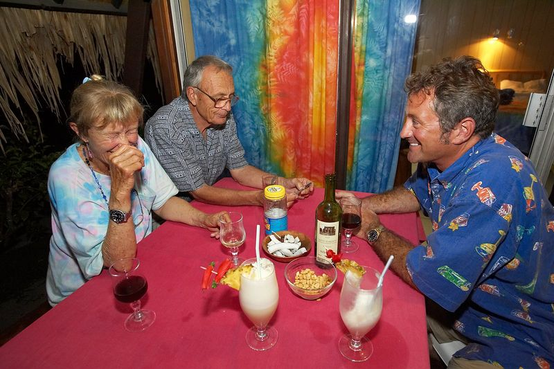 Douglas Seifert, with Ron and Valerie Taylor (Moorea - Hibiscus Hotel)