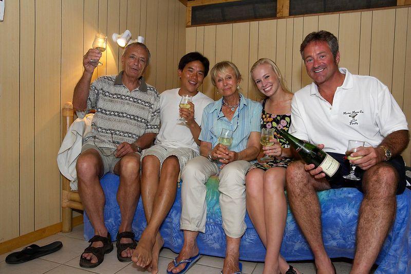 Group photo: Ron Taylor, Eric Cheng, Valerie Taylor, Krissy Gossman, and Douglas Seifert (Moorea - Hibiscus Hotel)