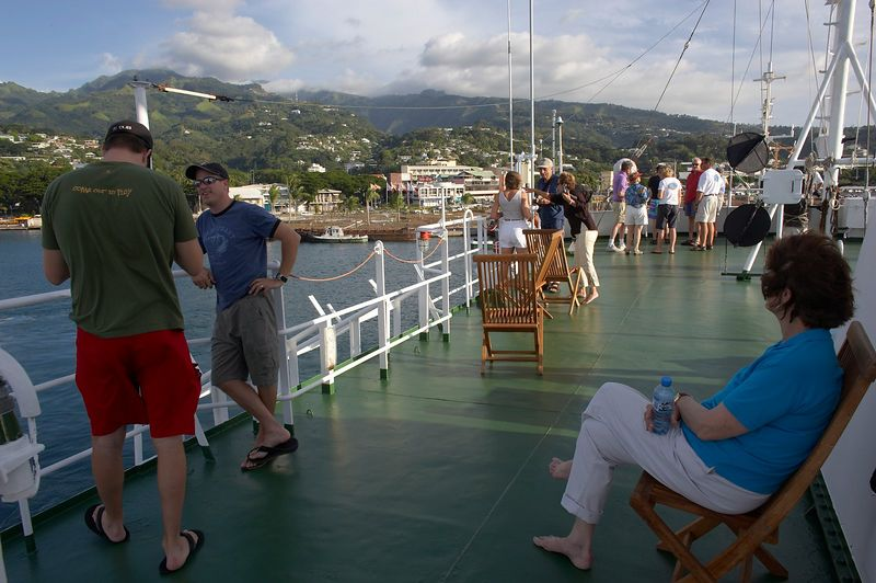 Suzanne, J.P., and Rocky on the top deck of the Shokalskiy, Tahiti