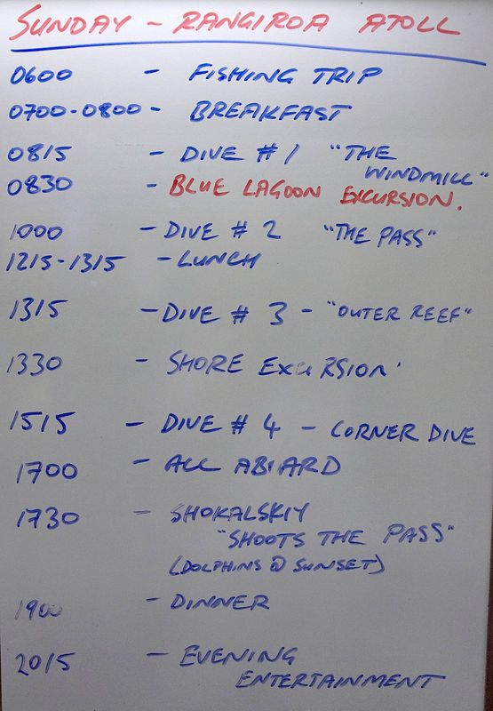 There was a daily schedule board just outside of our room (Boat - Akademik Shokalskiy)