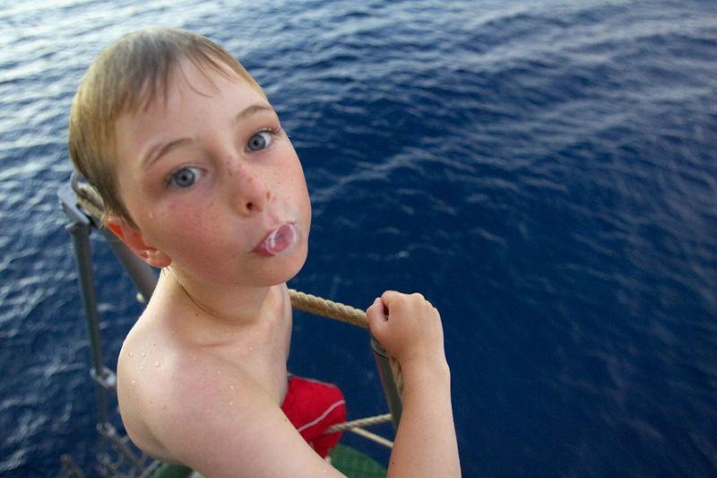 Timothy McDowell jumps off of the gangway (Boat - Akademik Shokalskiy)