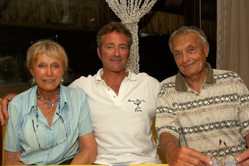 Douglas Seifert with Ron and Valerie Taylor (Moorea - Les Timpaniers Restaurant)