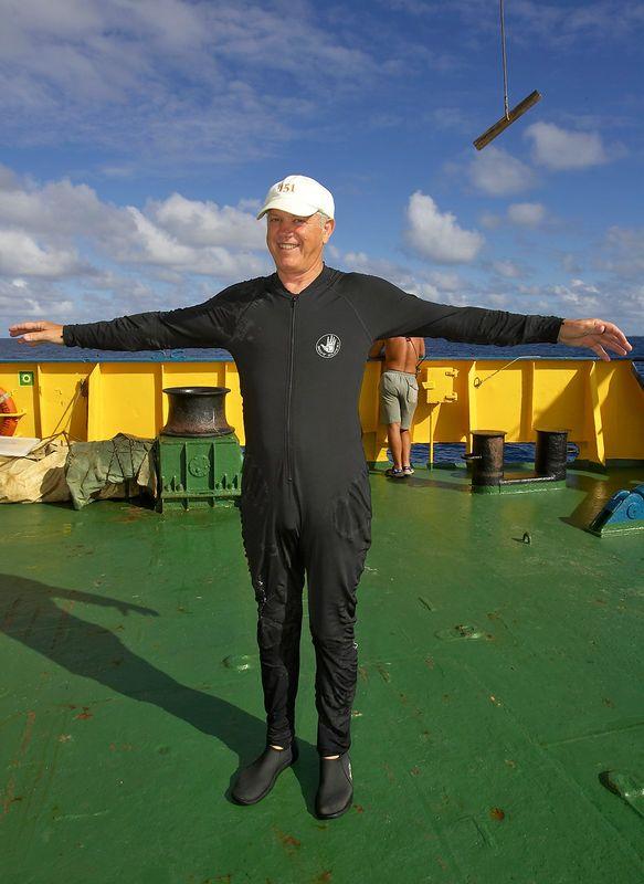 Bob Spane Jr. shows off his dive skin -- long due for disposal ;) (Boat - Akademik Shokalskiy)