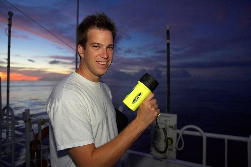 J.P. tries to light up the sky with a dive light (Boat - Akademik Shokalskiy)