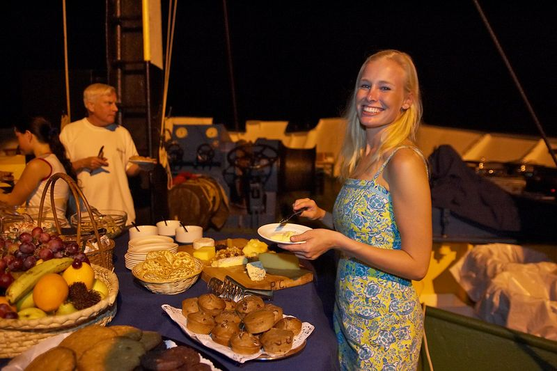 Krissy and Ken get food at the barbecue (Boat - Akademik Shokalskiy)