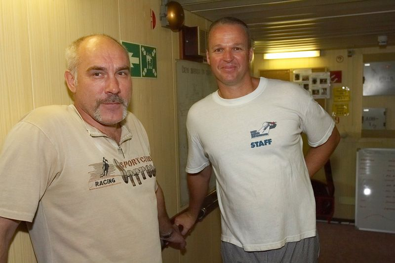 Phil Algar with crew member (Boat - Akademik Shokalskiy)