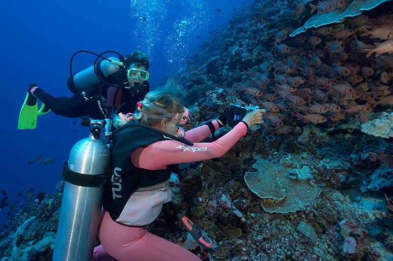 Valerie Taylor photographs big-scale squirrelfish (Myripristis berndti) while Jenny Cornish looks on (Tikehau - Shark Hole)