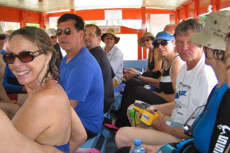 The bus ride back to the boat (Suzanne Schauwecker, Wes McNay, Roger Lewis, Valerie Taylor, Rocky Spane, Scott Foster, Jenny Cornish, Marty Georgeff, Curtis Foster, Pat Hamilton (Rangiroa - Misc Topside)