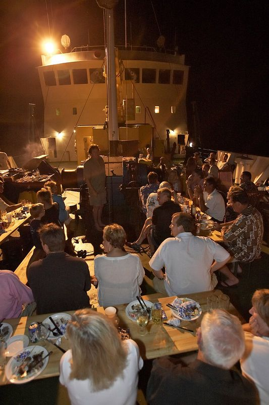 Final barbecue celebration on the bow of the Shokalskiy (Boat - Akademik Shokalskiy)