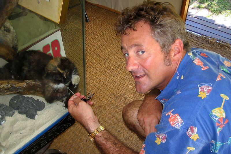 Douglas can't resist tormenting kitties. (He loves cats) (Moorea - Topside)