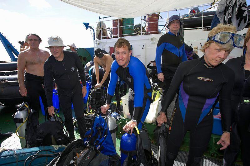 Suiting up on the dive deck (Boat - Akademik Shokalskiy)