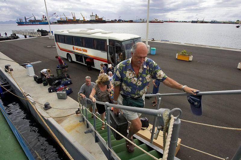 Barret and Regis board the Akademik Shokalskiy in Tahiti