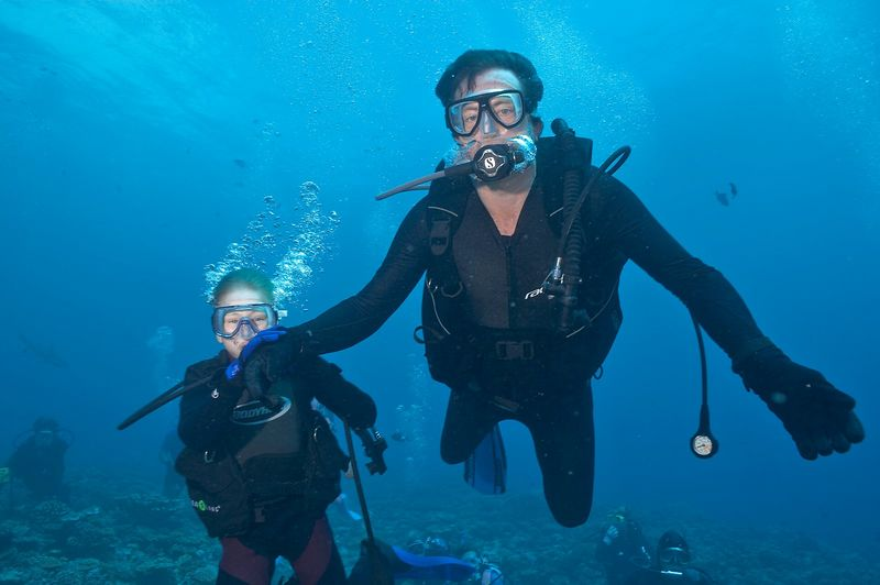 Mike McDowell with his son, Timothy (Moorea - Misc Diving)