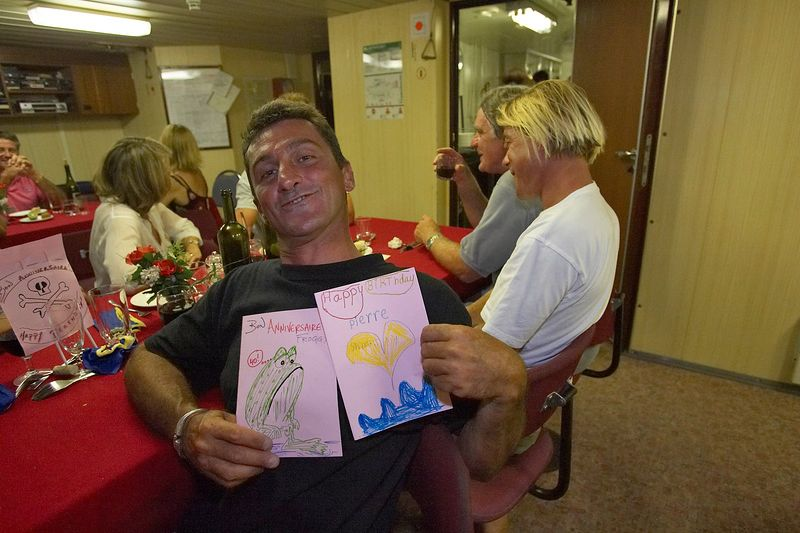 Pierre Tricottet with birthday cards from the kiddies (Boat - Akademik Shokalskiy)