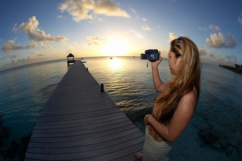 Noy takes video footage in Fakarava