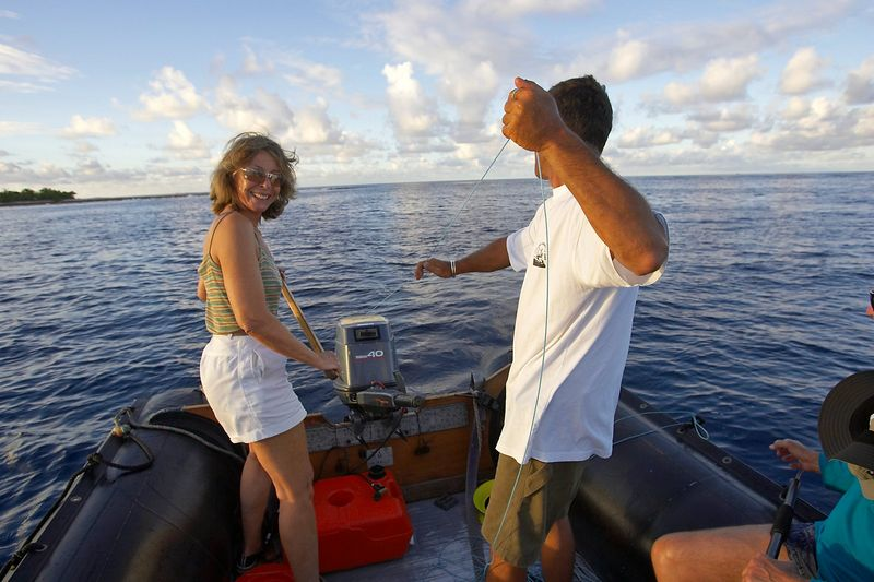"""Pierre demonstrates what he calls """"French"""" fishing, which as far a I can tell is just fishing without rod and reel. ;) (Boat - Akademik Shokalskiy)"""