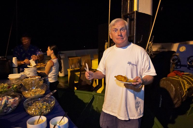 Ken Howard with food (Boat - Akademik Shokalskiy)